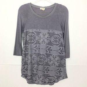 EUC Meadow Rue grey Capriccio Lace Tunic top